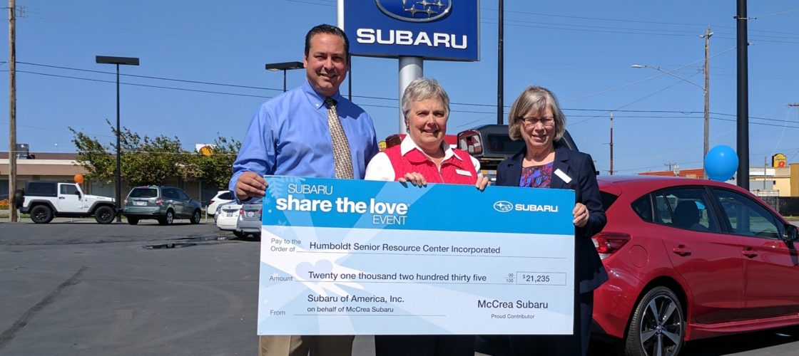 McCrea Subaru staff presents check to HSRC