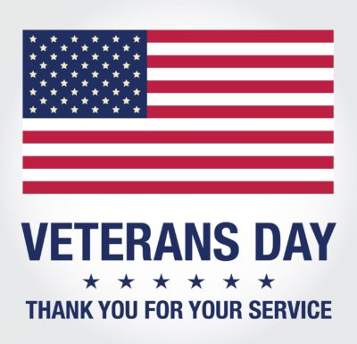 US flag image and a thank you to veterans for their service