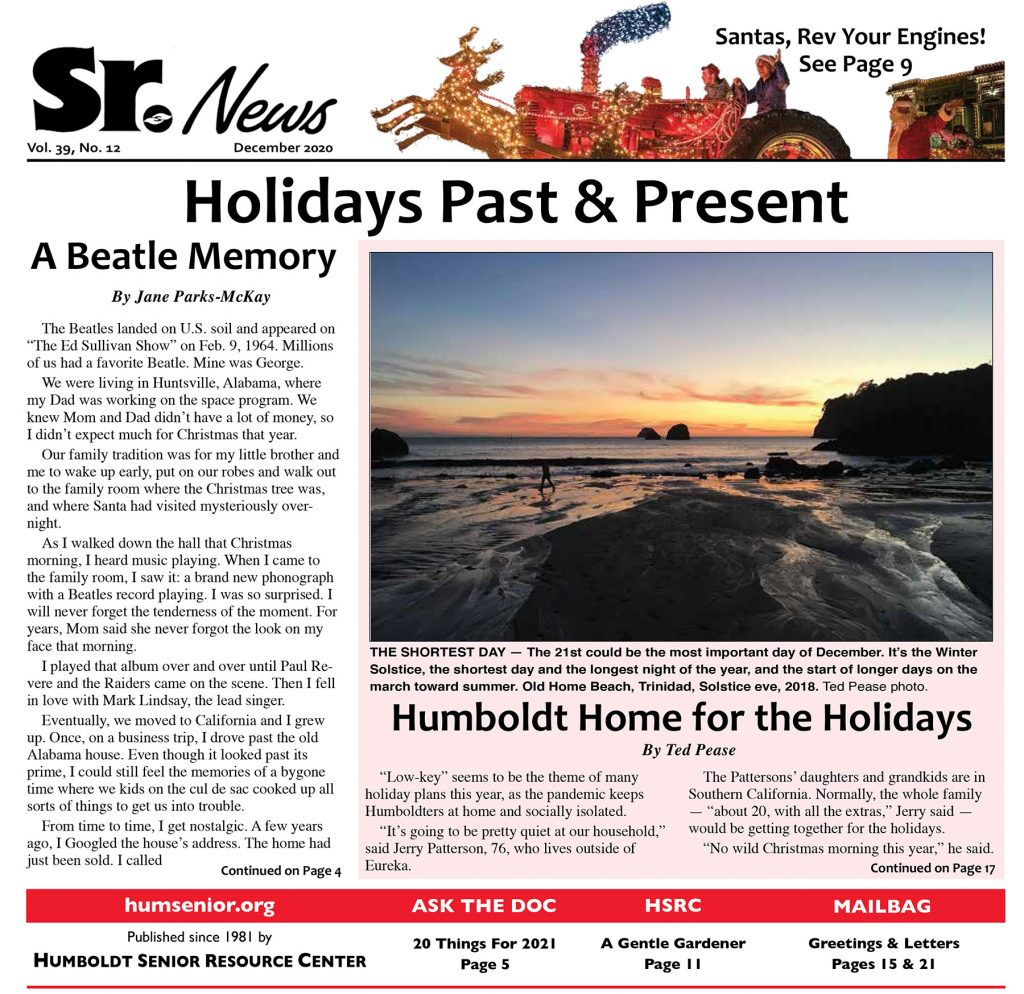 Page 1 of December 2020 issue of Senior News