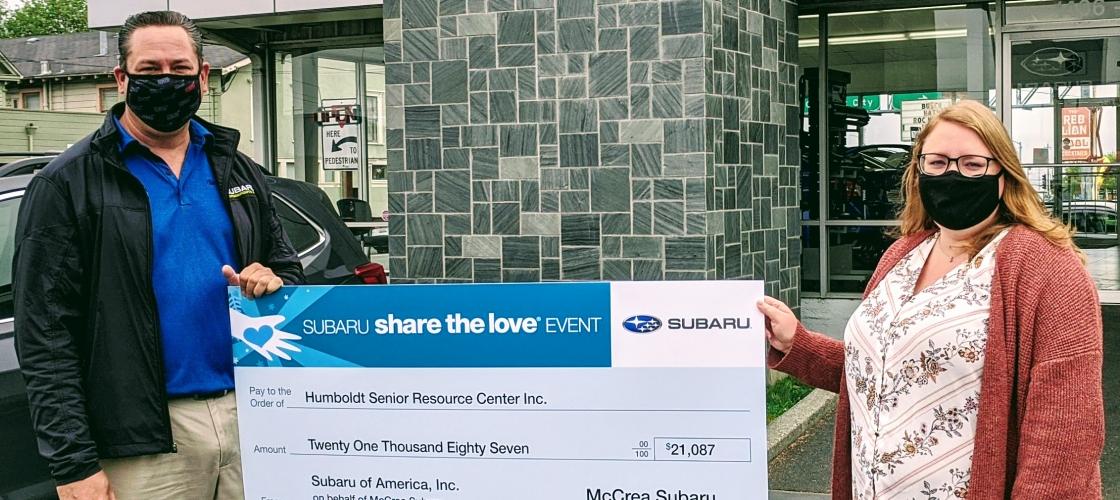 McCrea Subaru staff presents check to HSRC